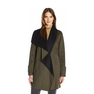 Calvin Klein Double Face Olive Green Wool Coat